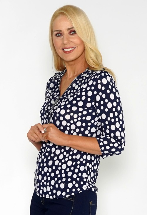 Zapara Polka Dot Top with Zip Detail