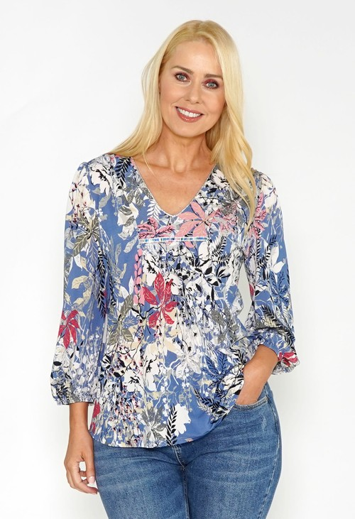Sophie B Printed Top with Diamonte Detail