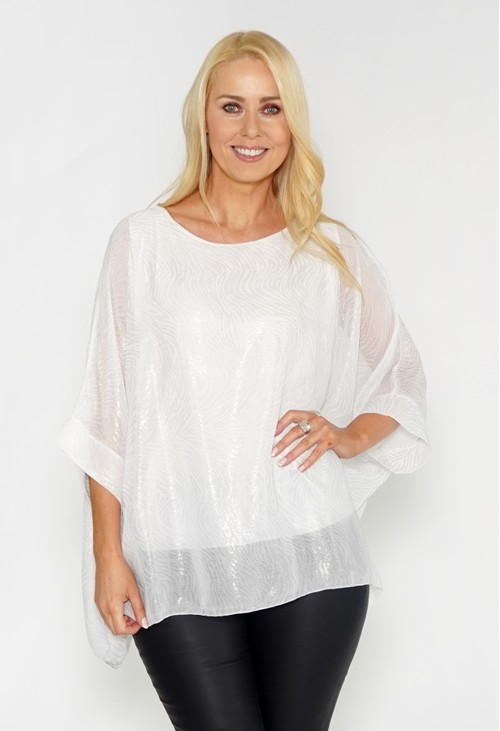 Pamela Scott Metallic Flowy Double Layer Top