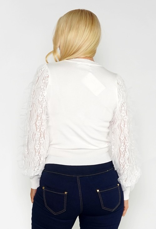 Pamela Scott OFF WHITE JUMPER WITH TEXTURED LACE SLEEVE