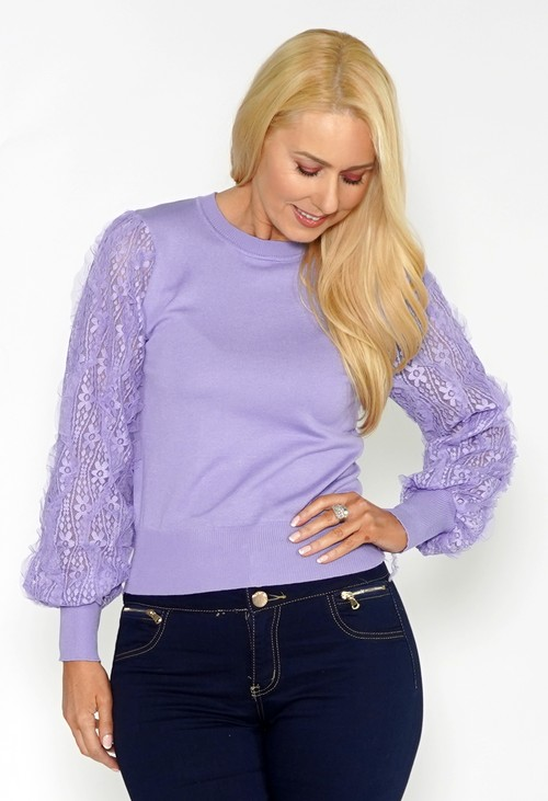 Pamela Scott LILAC JUMPER WITH TEXTURED LACE SLEEVE