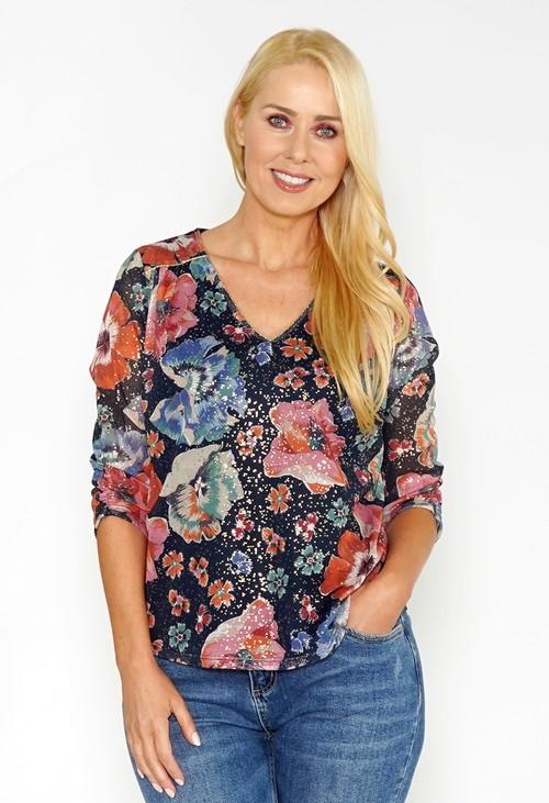 Sophie B Floral Print Mesh Top