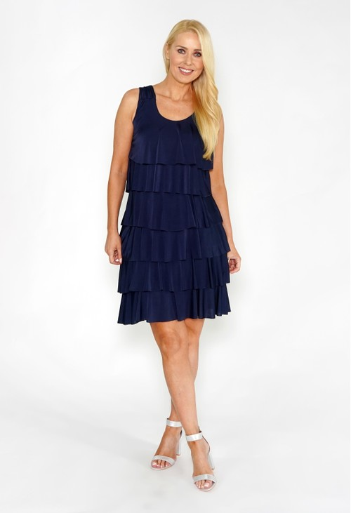 Zapara Navy Layered Dress