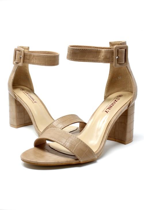 Shoe Lounge NUDE CROC PRINT BLOCK HEEL SANDAL