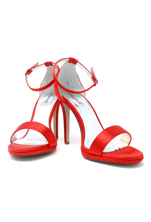 Pamela Scott Red BARELY THERE SANDALS