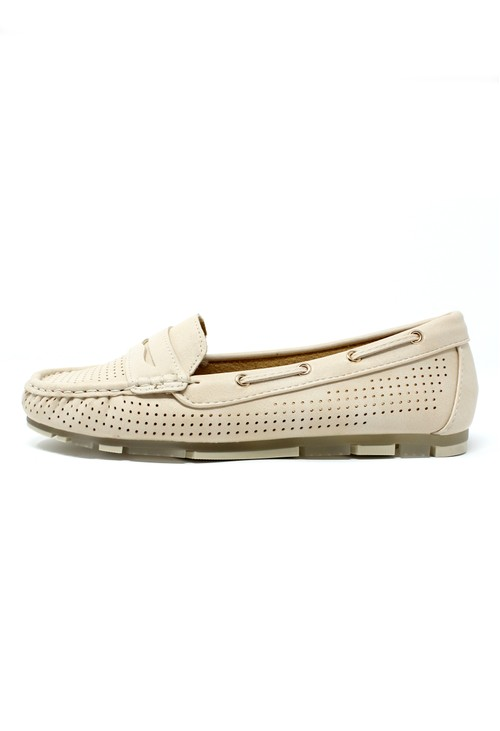 Pamela Scott Beige CUSHIONED FAUX SUEDE LOAFERS