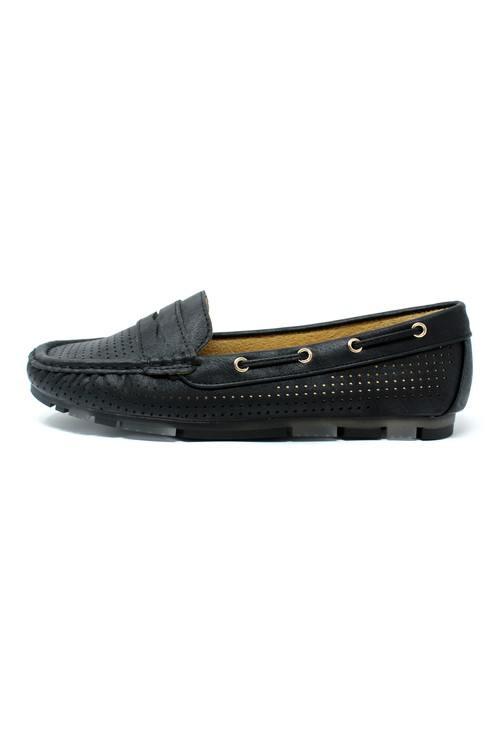 Pamela Scott Black CUSHIONED FAUX SUEDE LOAFERS