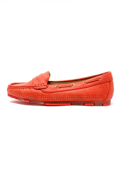 Pamela Scott Tomato Red CUSHIONED FAUX SUEDE LOAFERS