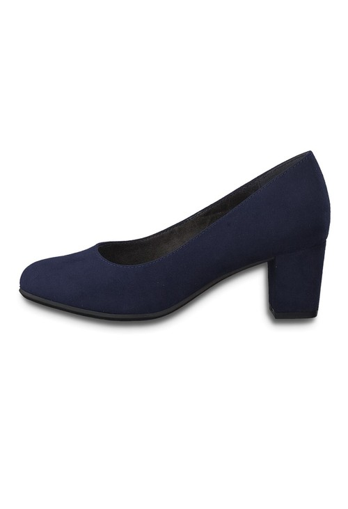 Jana Navy Block Heel Microfibre Court Shoe
