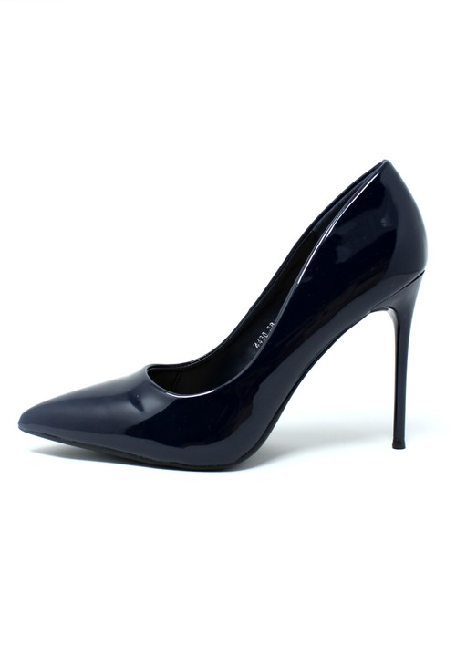 Pamela Scott Navy Patent Stilletto