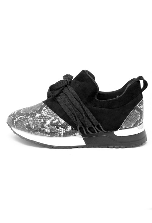 Pamela Scott Black Trainer with Snake Print