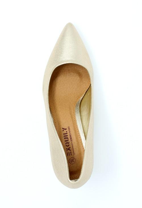 Pamela Scott Gold Pointed Block Heel
