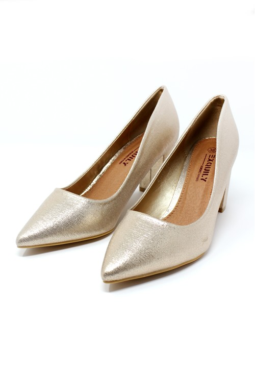 Shoe Lounge Gold Pointed Block Heel