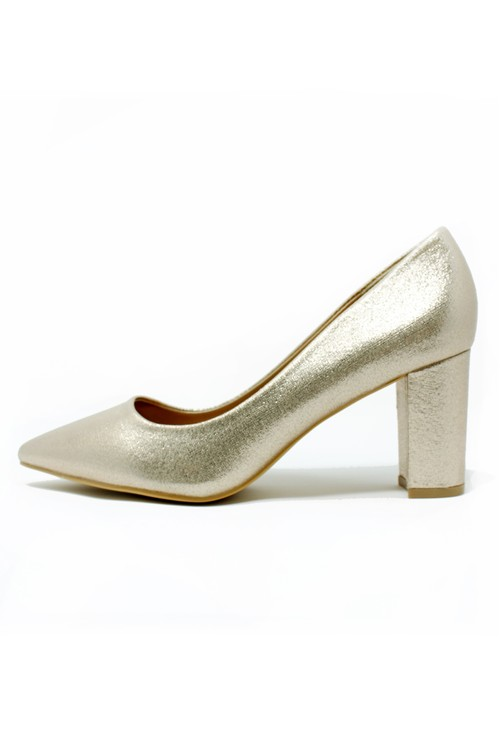 Pamela Scott Gold Pointed Block Heel