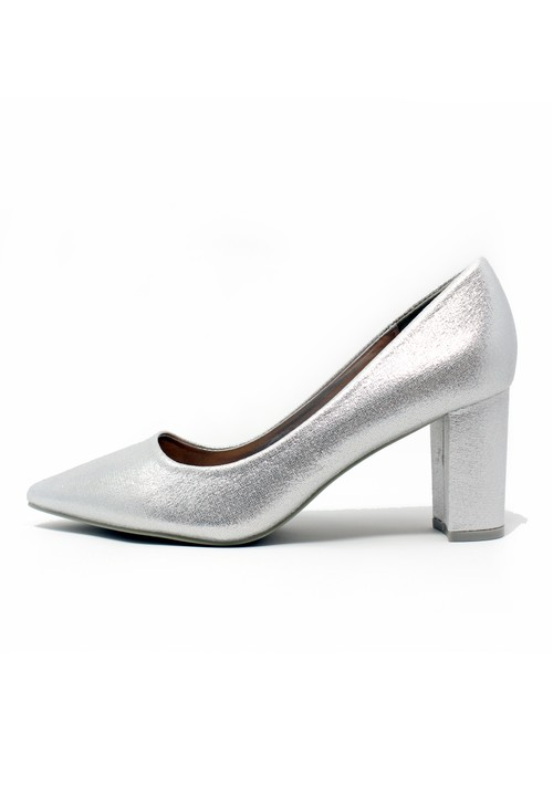 Shoe Lounge SILVER POINTED BLOCK HEEL
