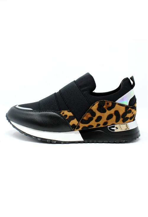 Pamela Scott Black Trainer with Leopard Print