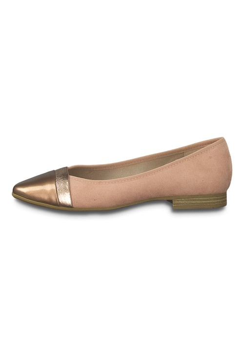 Jana Microfibre Flat Pump with Metallic Toe Cap