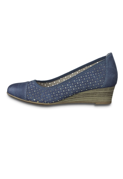 Jana Denim Low Wedge