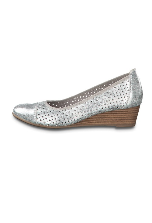 Jana Silver Low Wedge