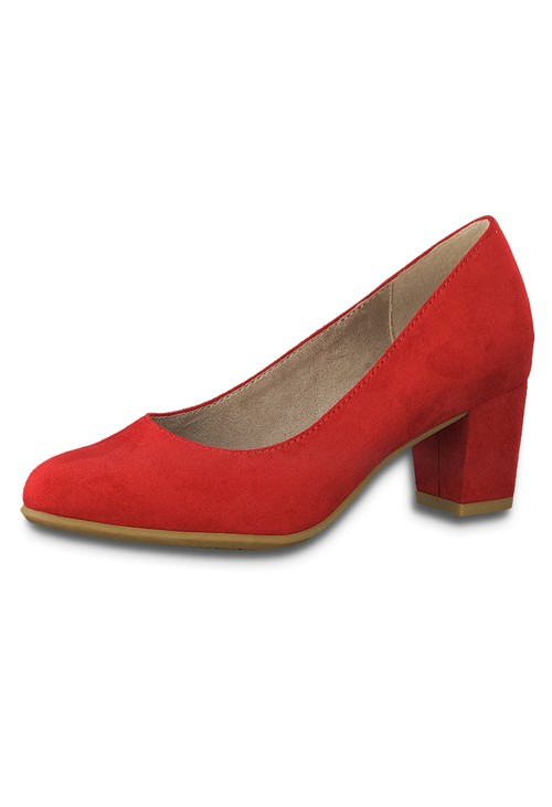 Jana Red Microfibre Block Heel Court Shoe