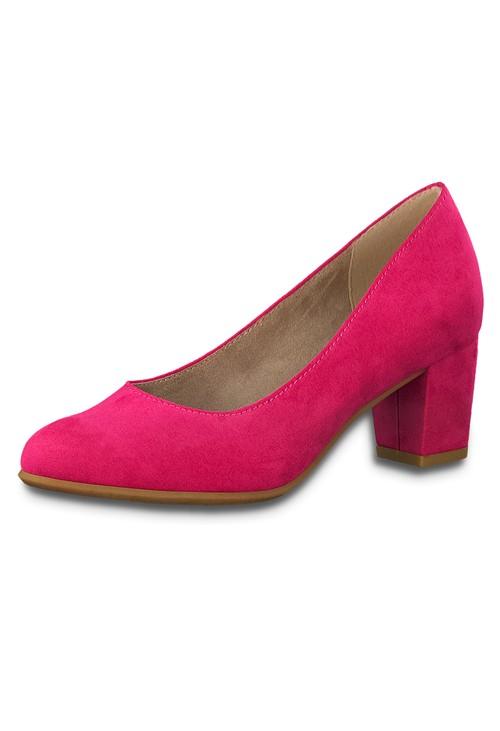 Jana Pink Microfibre Block Heel Court Shoe