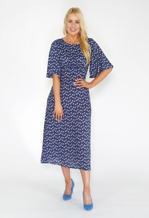 Stella Morgan Navy Floral Midi Dress