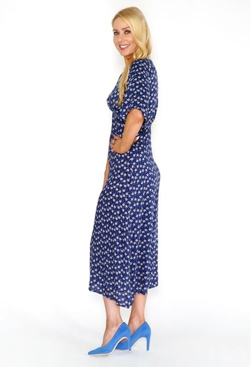 Stella Morgan Navy Floral Midi Dress