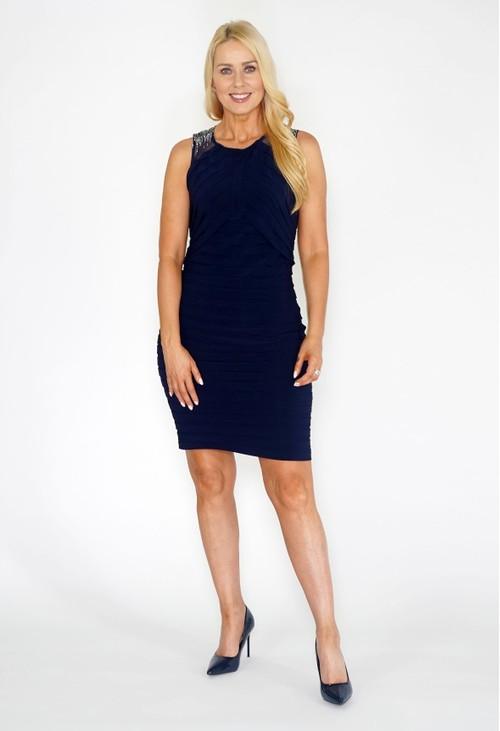 Scarlett Navy Diamonte Dress