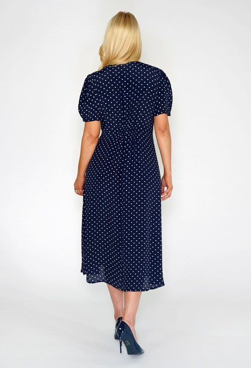 Pomodoro Navy Polka Dot Buttoned Dress