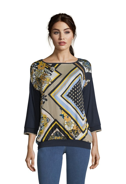 Betty Barclay Blue/Camel Rib Cuff Blouse