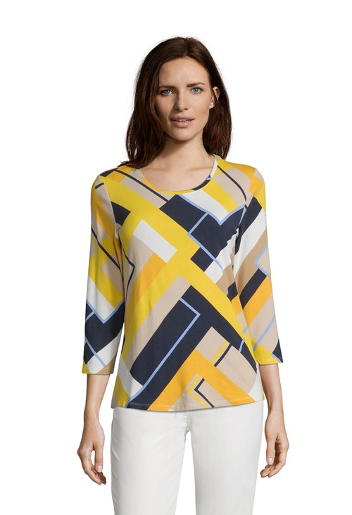 Betty Barclay Camel/Yellow Abstract Print Top