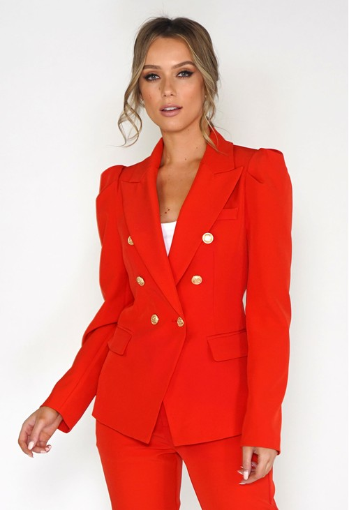 Pamela Scott Flame Red Puff Sleeve Blazer