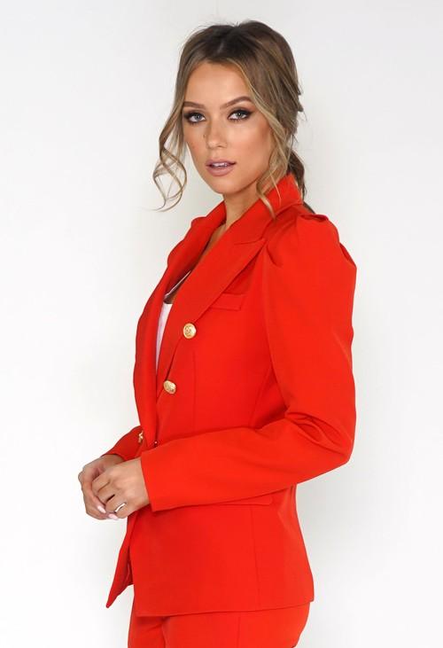 Pamela Scott Flame Red Puff Sleeve Blazer