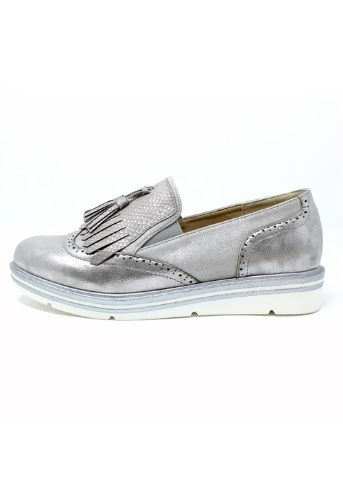 Pamela Scott Silver Tassel Detail Loafer