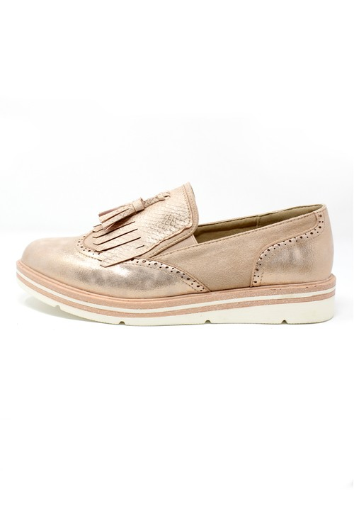 Pamela Scott Rose Gold Tassel Detail Loafer