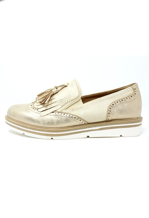 Pamela Scott Gold Tassel Detail Loafer