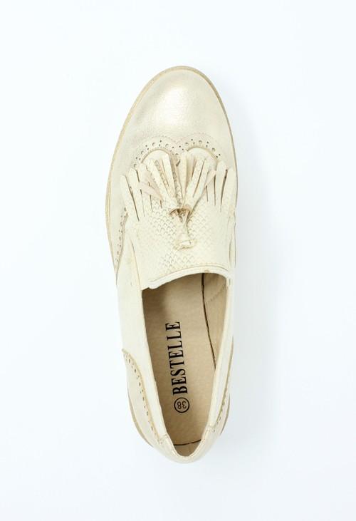 Pamela Scott Gold Tassel Detail Loafer
