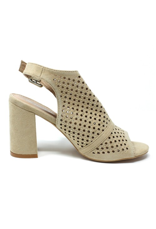 Pamela Scott Beige Cut Out Boot