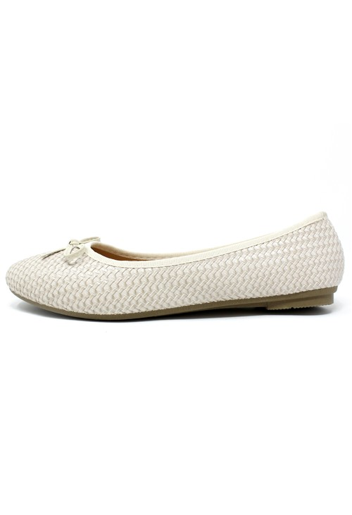 Pamela Scott Beige Woven Effect Pump