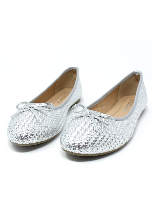 Pamela Scott Silver Woven Effect Pump
