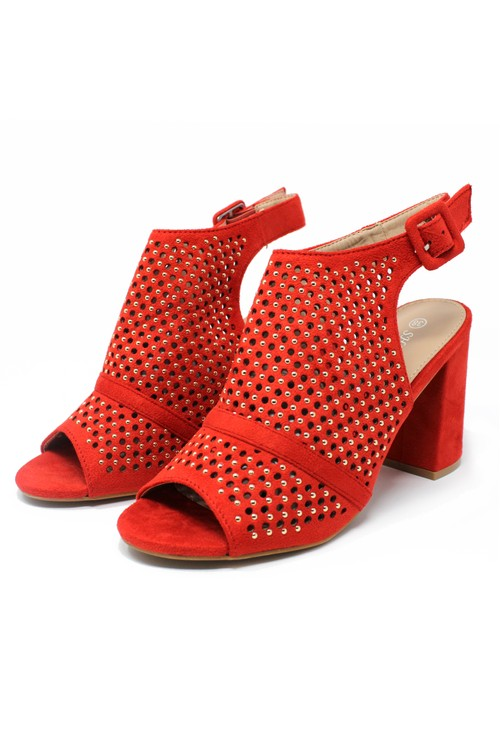 Pamela Scott Red Cut Out Boot