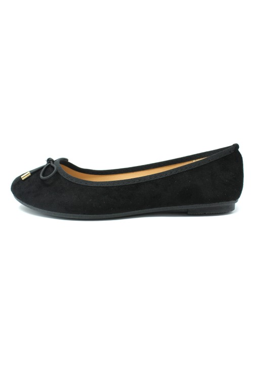Pamela Scott Black Ballerina Pumps