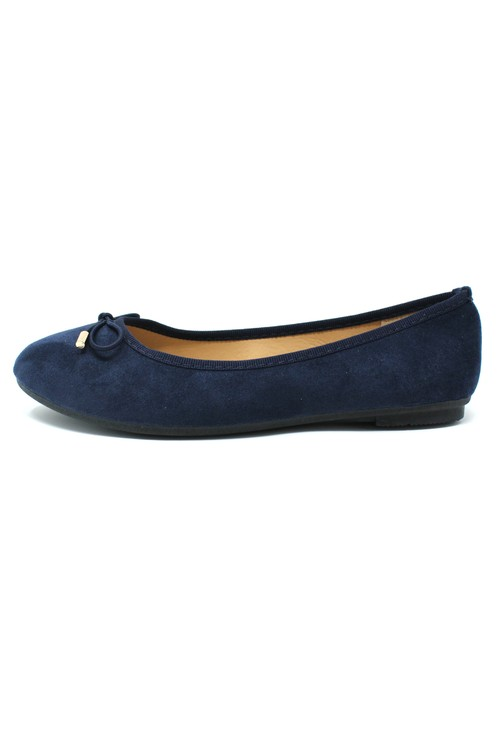 Pamela Scott Navy Ballerina Pumps