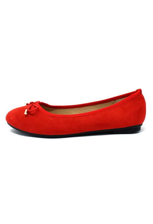 Pamela Scott Red Ballerina Pumps