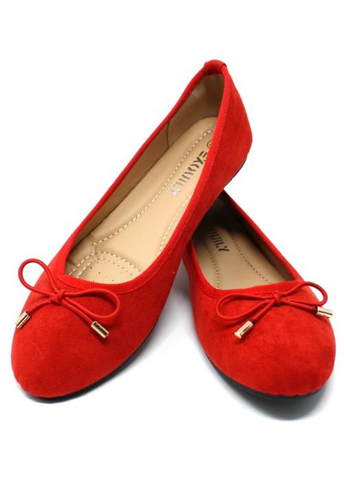 Pamela Scott Red Ballerina Pumps