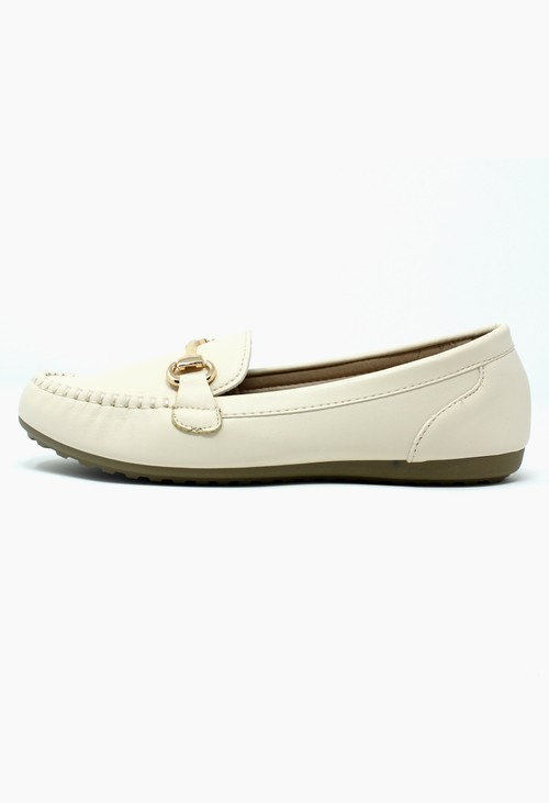Pamela Scott Cream Loafer with Gold Detail