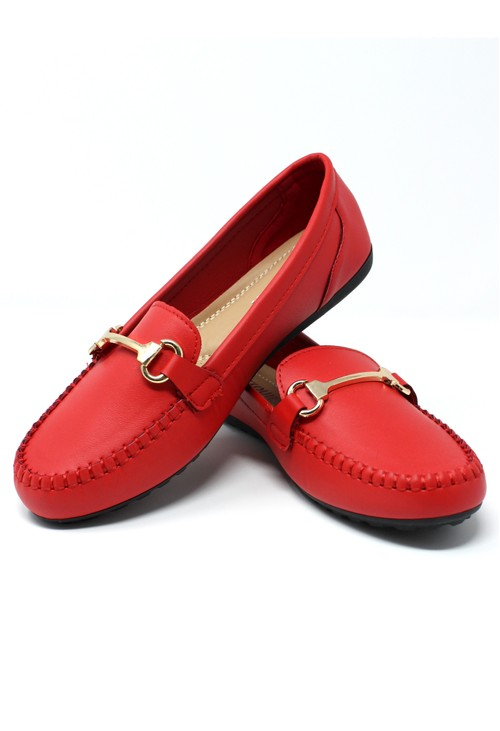 Pamela Scott Red Loafer with Gold Detail