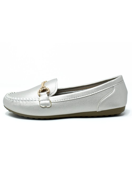 Pamela Scott Silver Loafer with Gold Detail