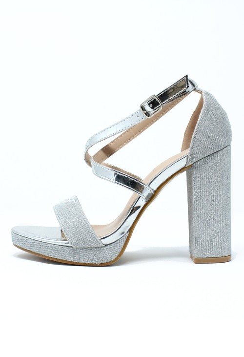 Pamela Scott Silver and Sparkle Strappy Heels