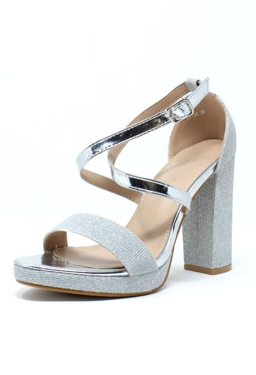 Pamela Scott Silver and Sparkle Strappy Heels